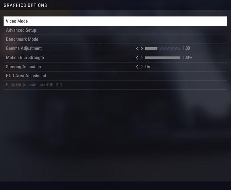 F1 2018 - menu Graphic options
