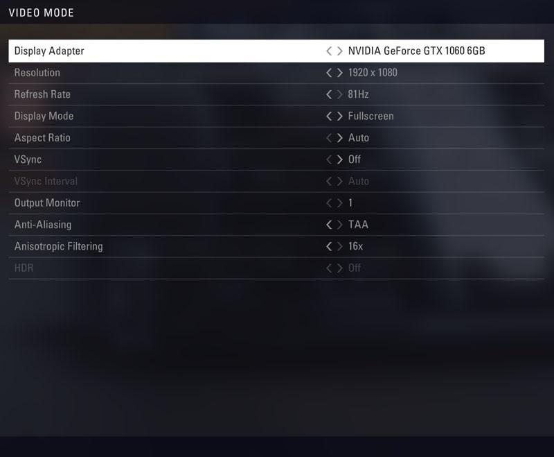 F1 2018 - menu Video mode