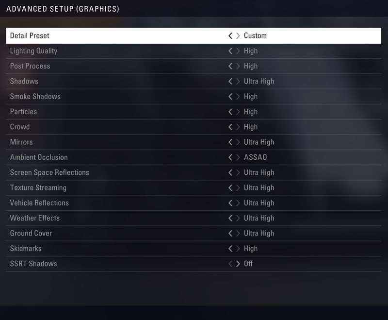 F1 2018 - menu Advanced Graphics