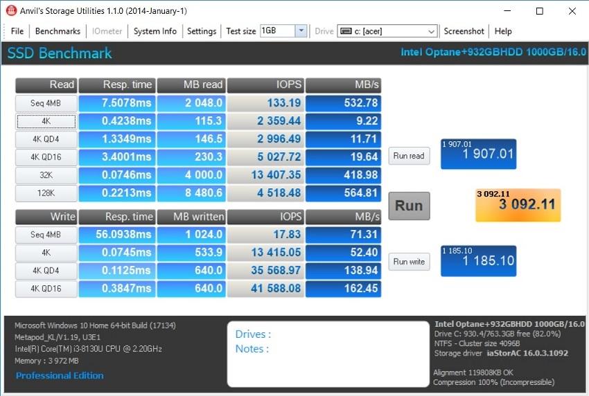 Acer Aspire 3; Acer Aspire 5; recenze; HDD + Intel Optane v Anvil
