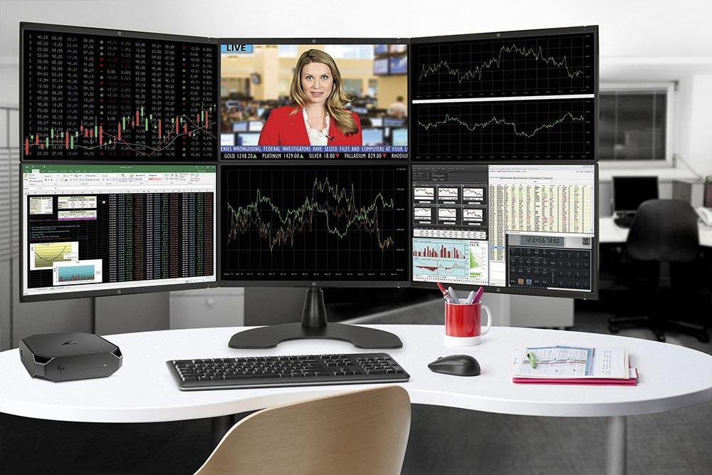 HP Z2 Mini, připojení na více monitorů