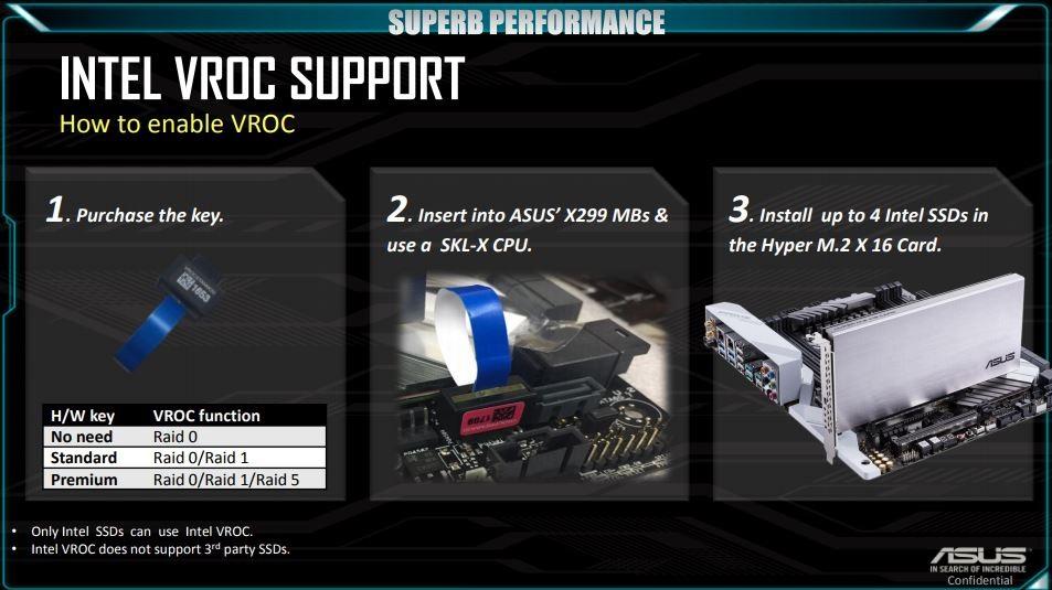 S hardwarovým klíčem lze odemknout prémiovou podporu Intel VROC na RAID 1 a RAID 5