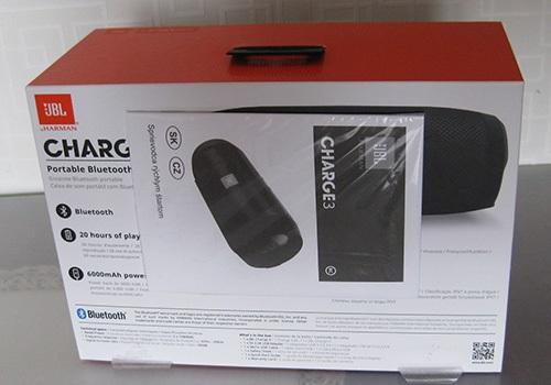 JBL Charge 3, krabice, zadní strana