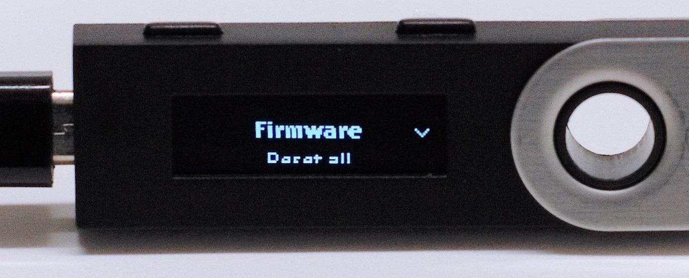 Ledger Nano S; Frimware update 1.4.1