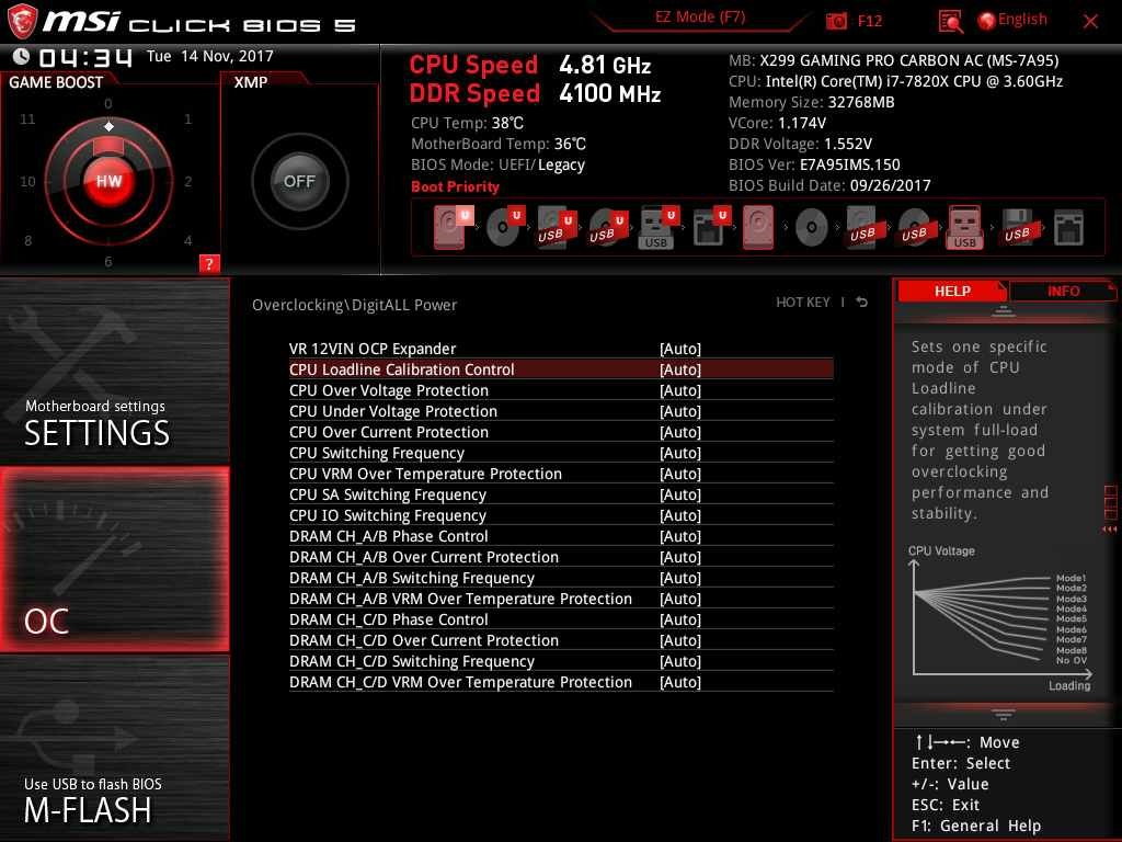 MSI X299 gaming pro carbon AC; BIOS UEFI