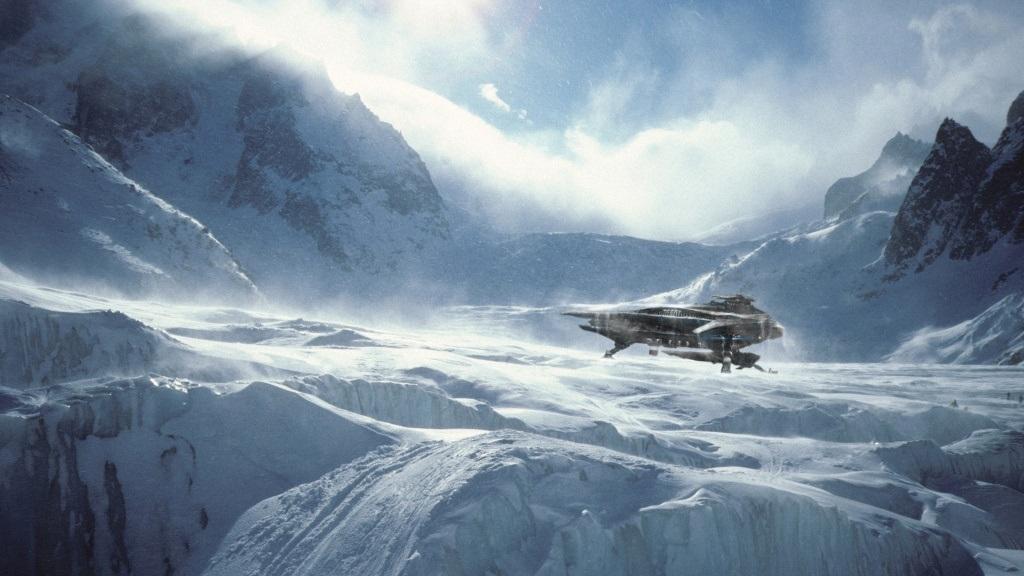 Star Citizen; Wallpaper: ledová planeta, vesmírná loď