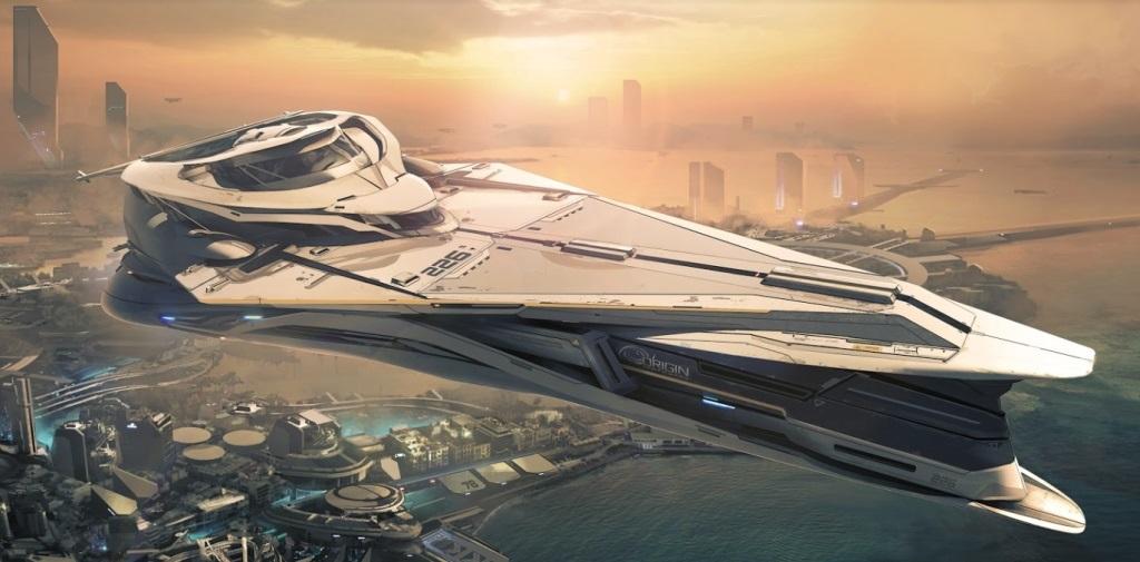 Star Citizen; Wallpaper: město, vesmírná loď