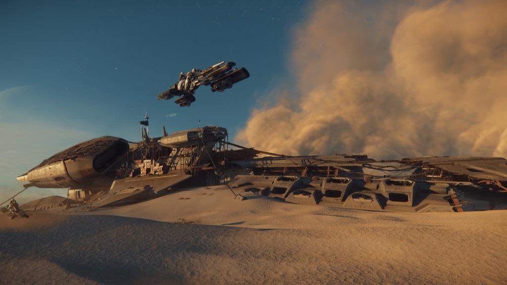 Star Citizen; Wallpaper: pouštní planeta, vesmírná loď