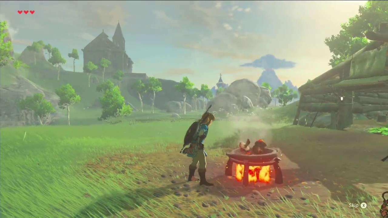 The Legend of Zelda: Breath of the Wild; rozdělávání ohně
