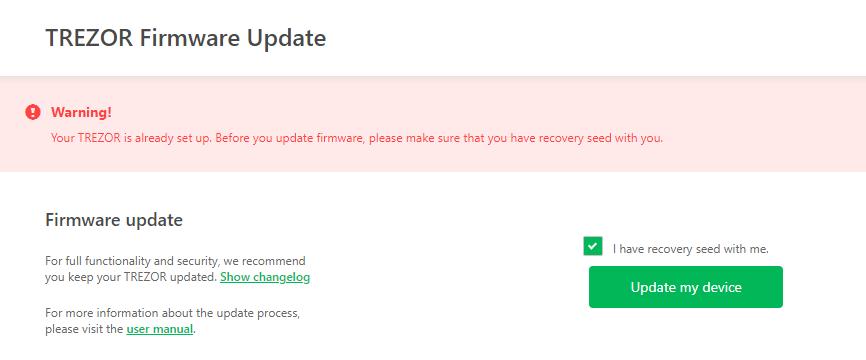 Trezor; Frimware update