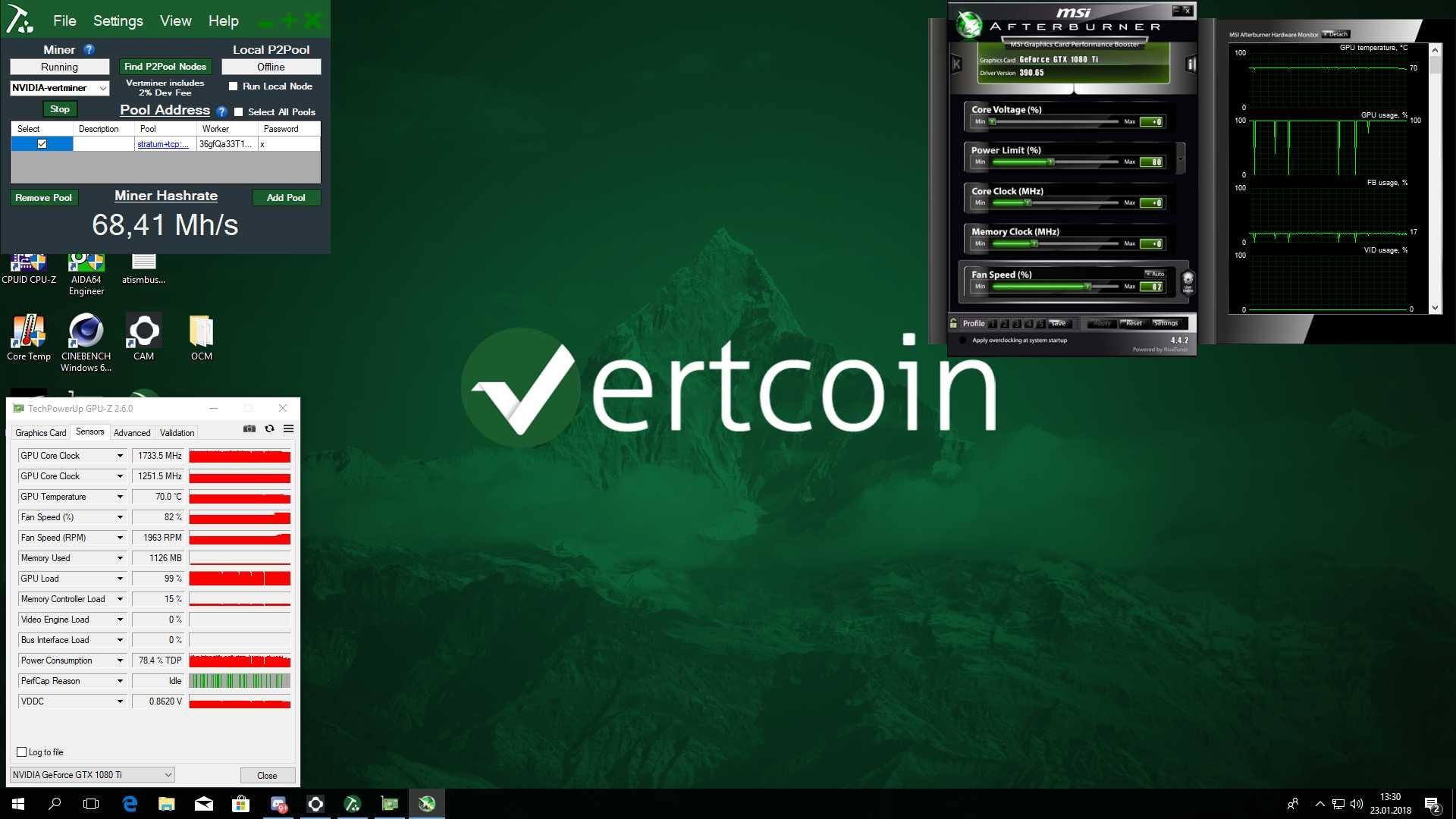 Vercoin; mining; VTC; One click miner
