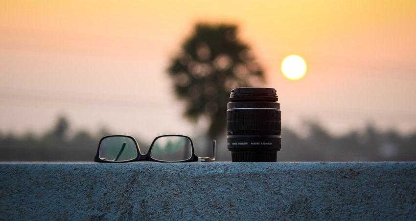 Objektiv, brýle, strom, slunce