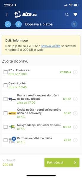 Apple Pay na Alza.cz, volba dopravy