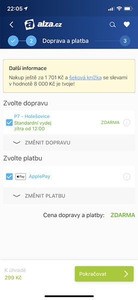 Apple Pay na Alza.cz, kontrola voleb