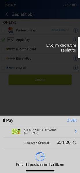 Apple Pay na Alza.cz, identifikace uživatele