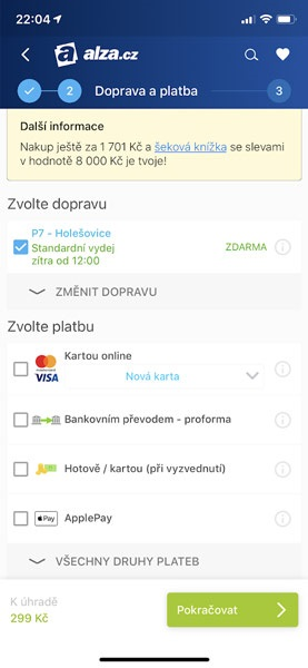 Apple Pay na Alza.cz, volba platby