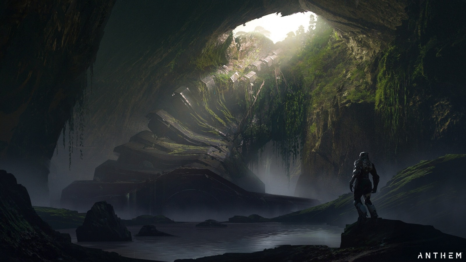 Anthem; screenshot: jeskyně