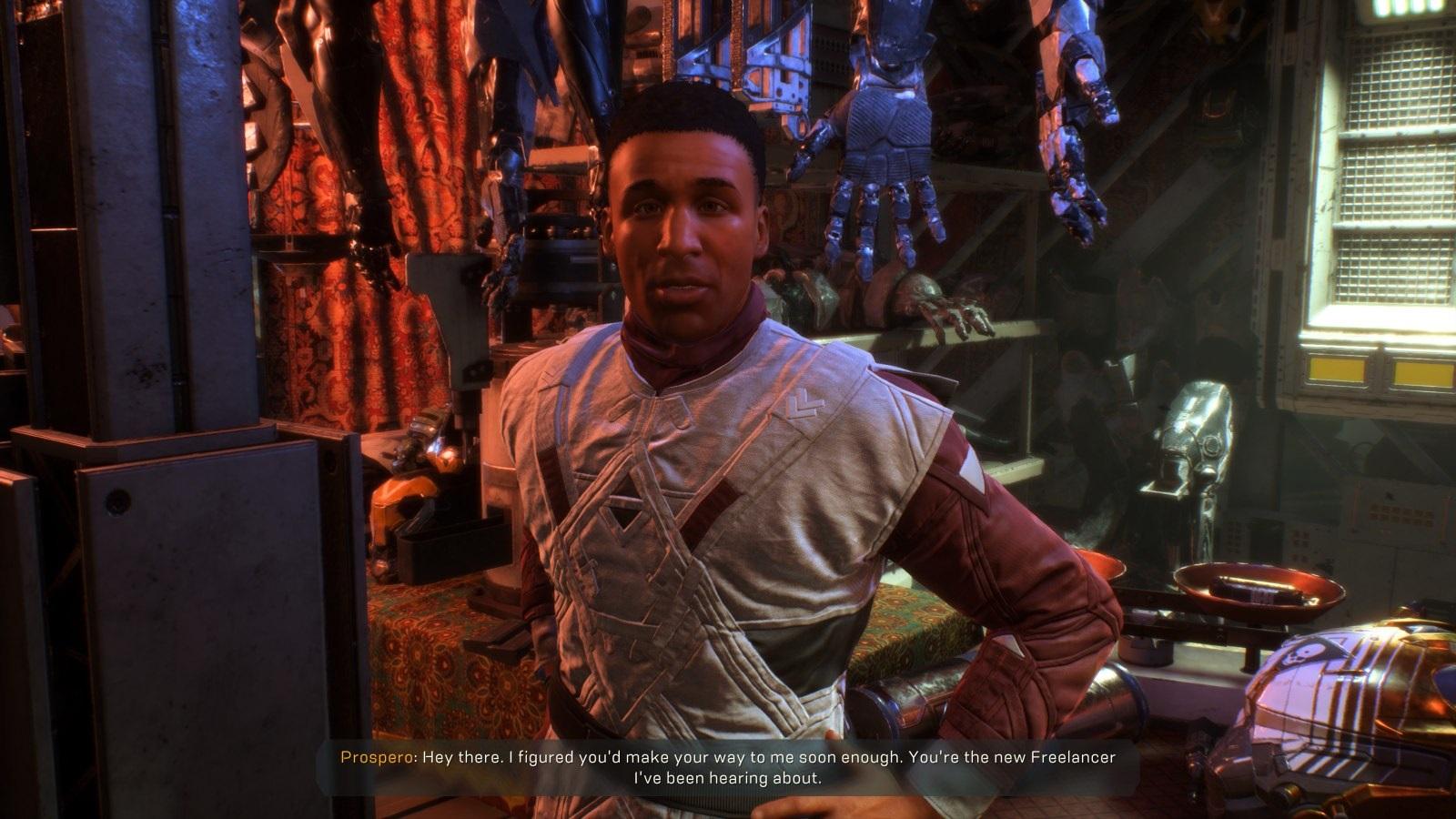 Anthem; gameplay: Tarsis prodejce, NPC