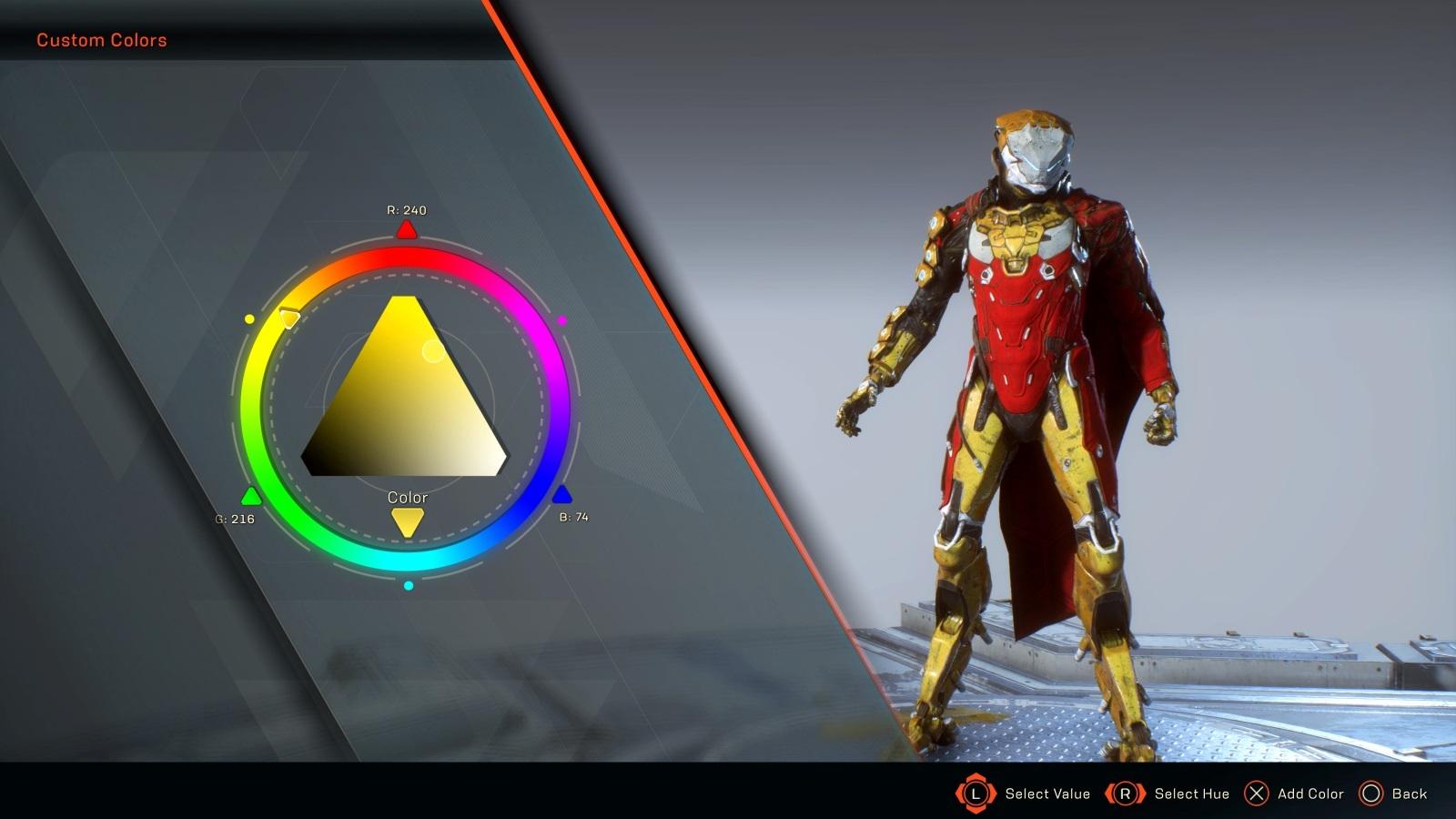 Anthem; gameplay: úprava barvy