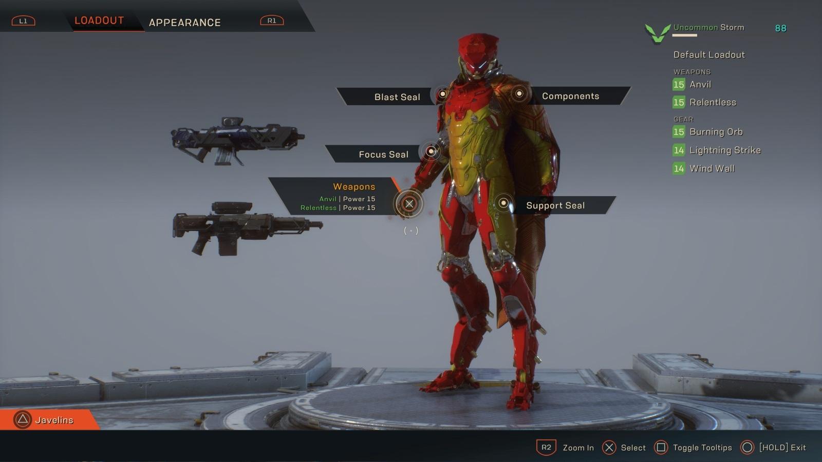 Anthem; gameplay: úprava Javelinu