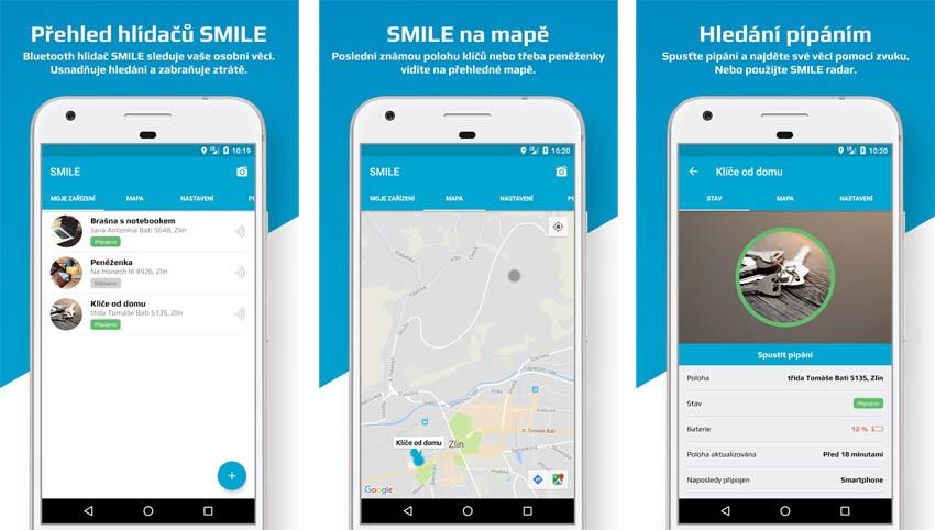 Aplikace lokátoru FIXED Smile