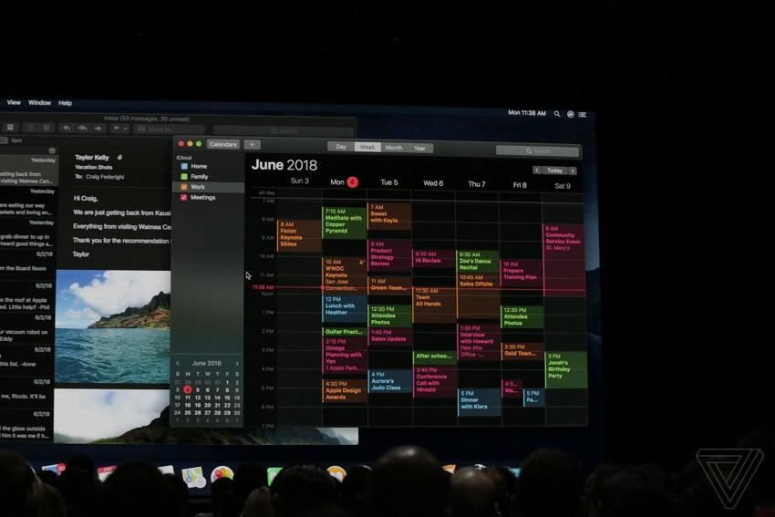macOS Mojave, tmavý kalendář