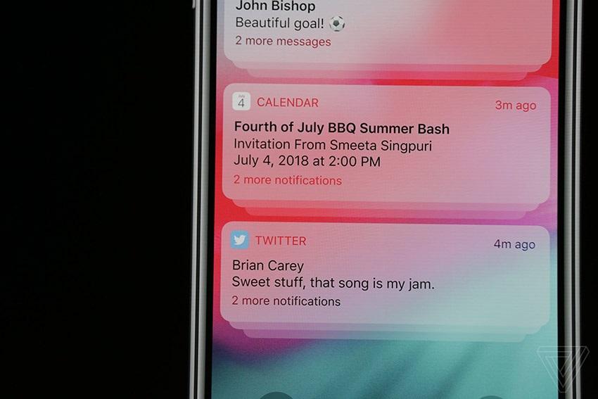 iOS 12, nové notifikace