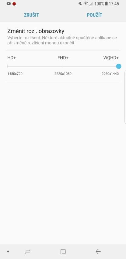 Samsung Galaxy Note8 – změna rozlišení