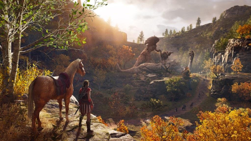 Assassin's Creed Odyssey; screenshot: Alexios a kůň