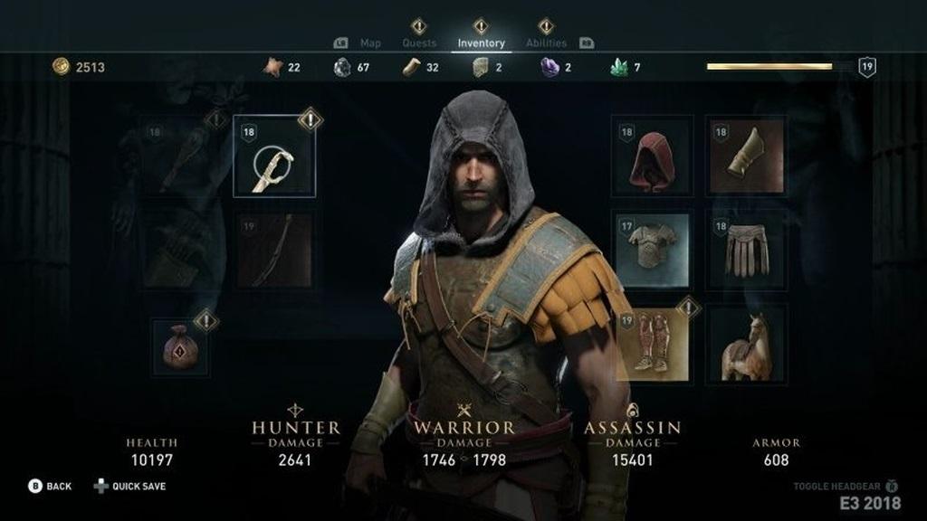 Assassin´s Creed: Odyssey; screenshot: inventář