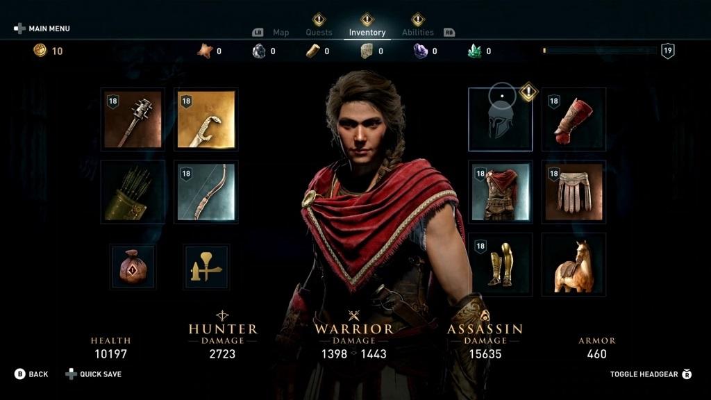Assassin's Creed Odyssey; screenshot: inventář