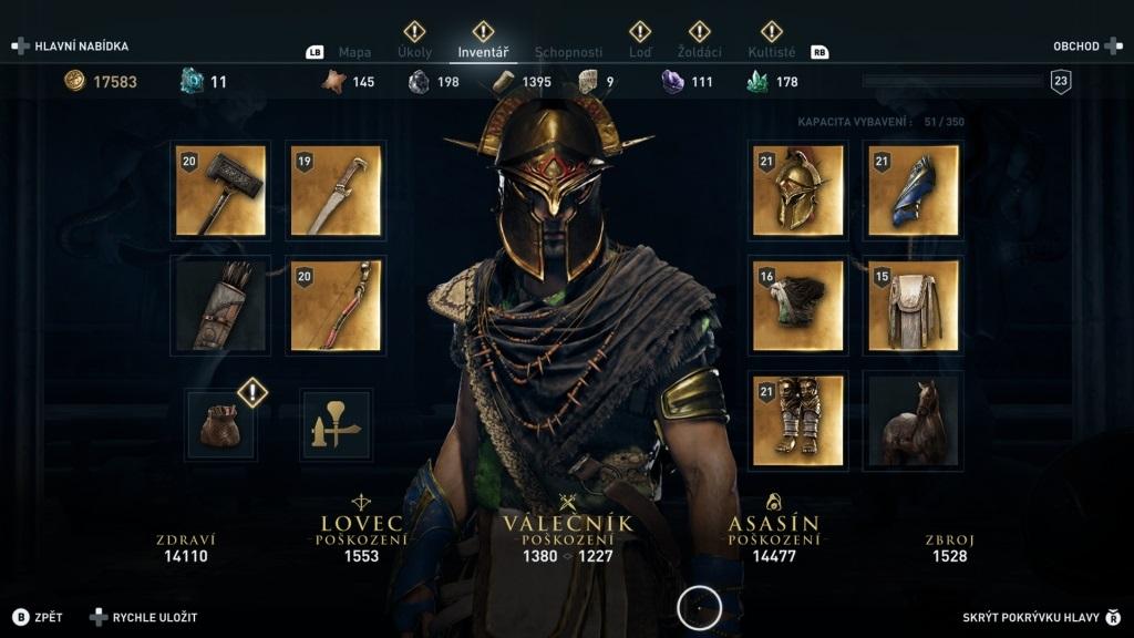 Assassin´s Creed Odyssey; gameplay: inventář