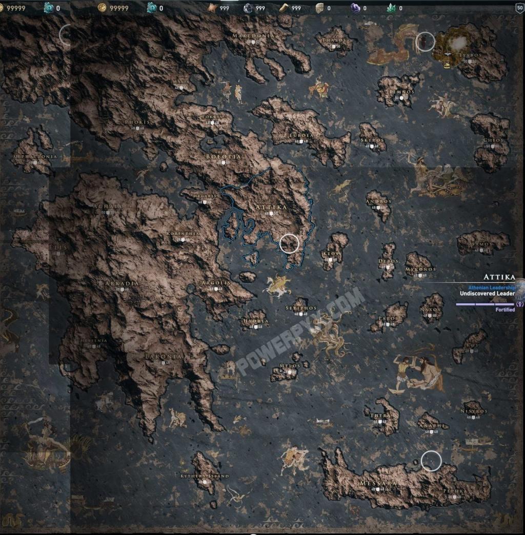 Assassin's Creed Odyssey; screenshot: mapa