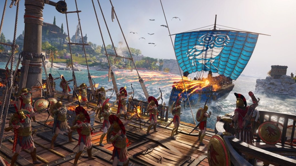 Assassin's Creed Odyssey; screenshot: ohnivé šípy