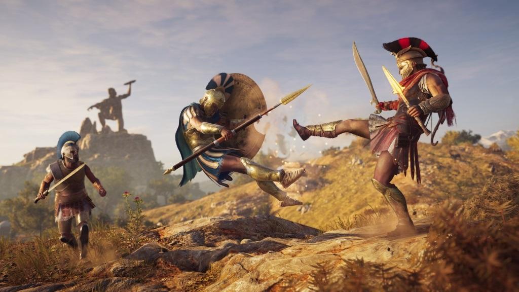 Assassin's Creed Odyssey; screenshot: spartan kick