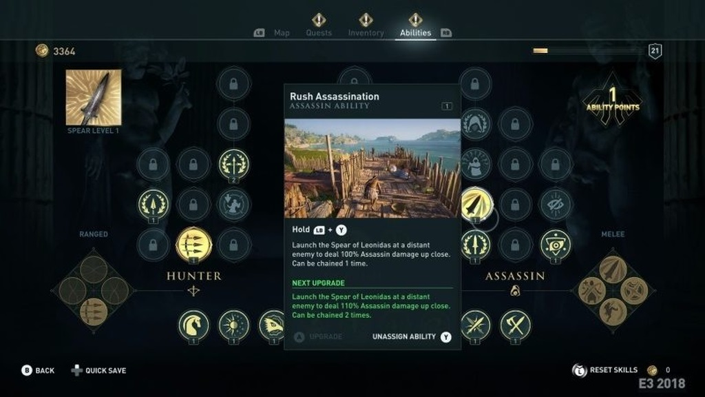 Assassin´s Creed: Odyssey; screenshot: strom dovednosti