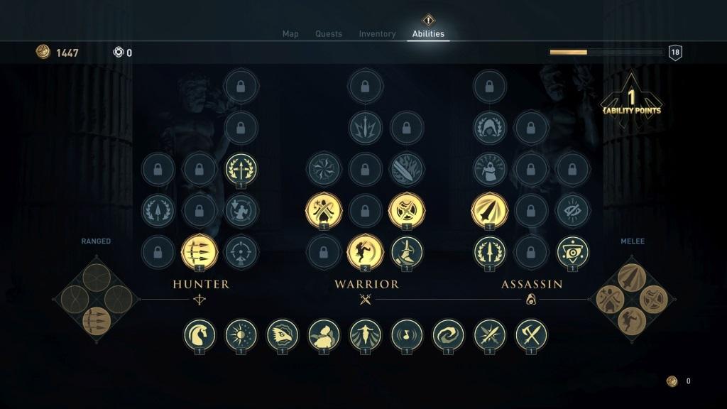 Assassin's Creed Odyssey; screenshot: strom zkušeností