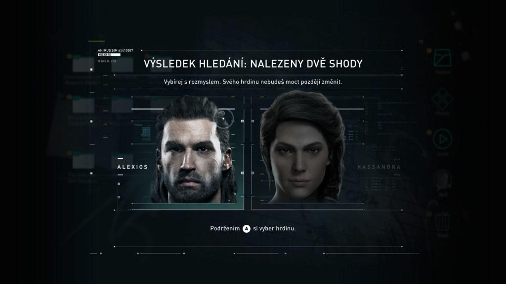 Assassin´s Creed Odyssey; gameplay: volba postavy