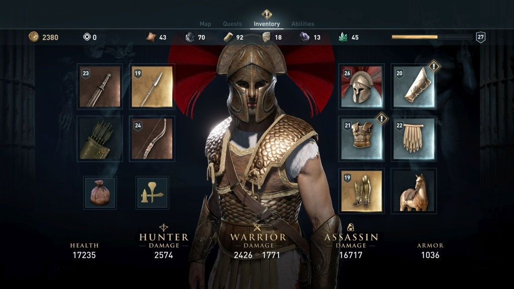 Assassin's Creed Odyssey; screenshot: výzbroj
