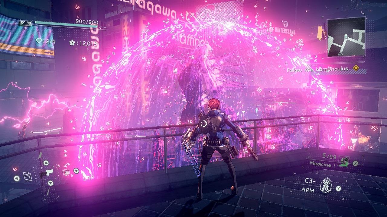 Astral Chain; screenshot: neony
