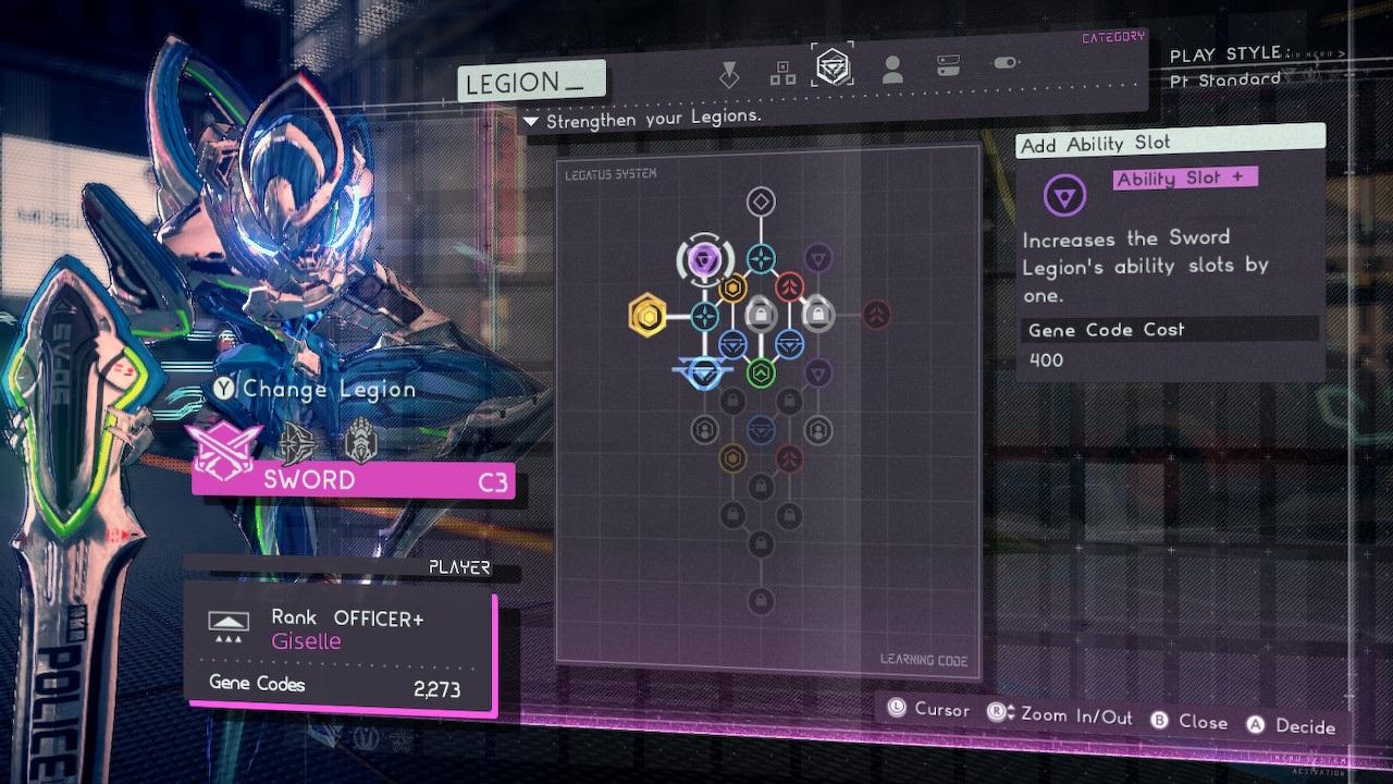 Astral Chain; screenshot: sword legion