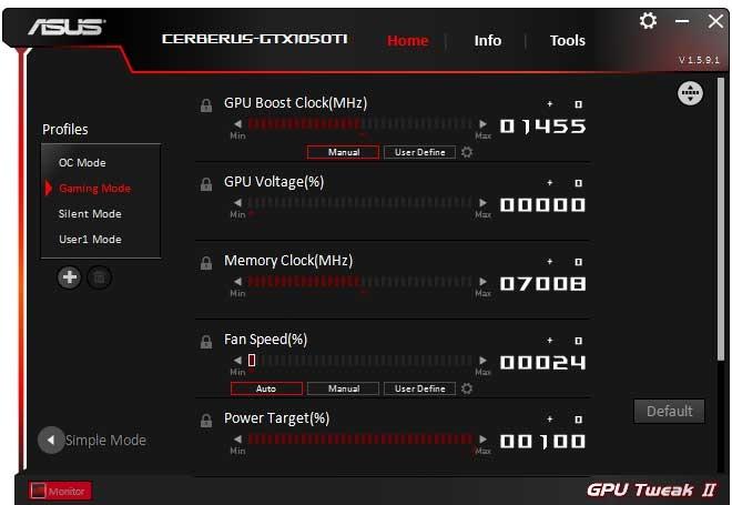 Asus Cerberus GTX 1050 Ti O4G GPU Tweak II Gaming mode