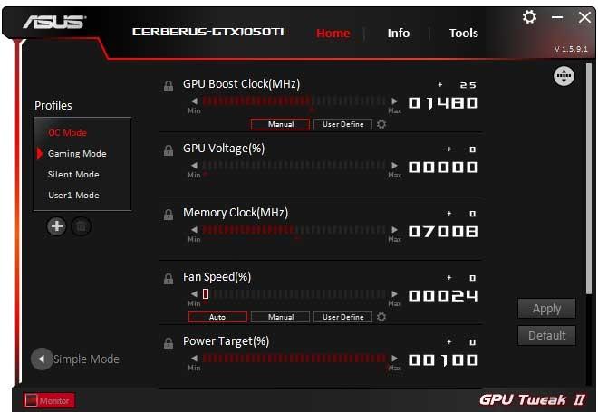 Asus Cerberus GTX 1050 Ti O4G GPU Tweak II OC mode