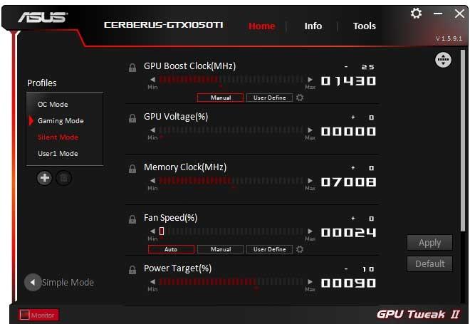 Asus Cerberus GTX 1050 Ti O4G GPU Tweak II Silent mode