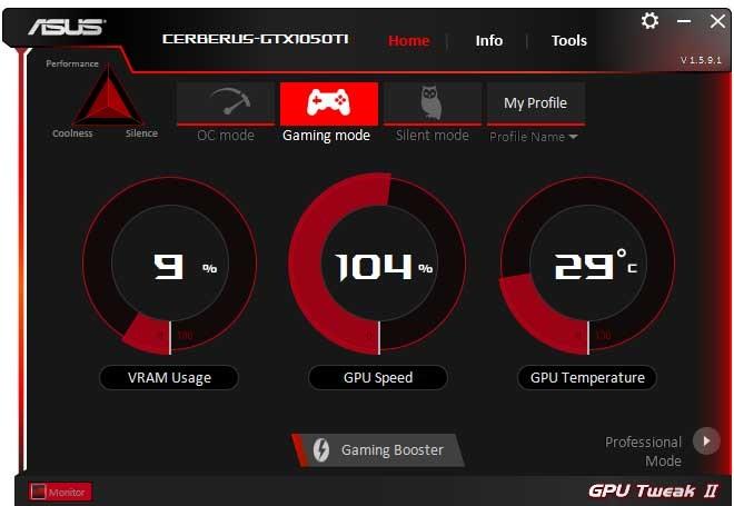 Asus Cerberus GTX 1050 Ti O4G Gaming GPU Tweak II Simple mode