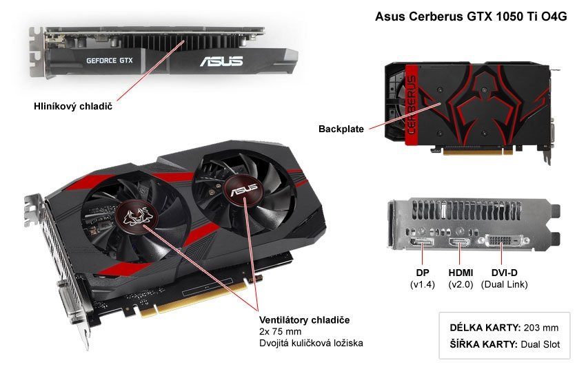 Asus Cerberus GTX 1050 Ti O4G popis