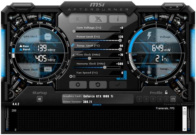 Přetaktování Asus ROG Poseidon GTX 1080 Ti Platinum; Afterburner