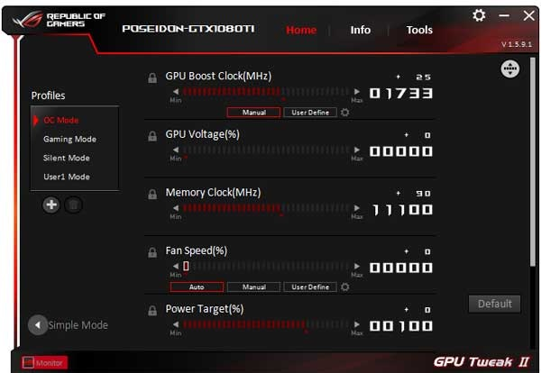 Asus ROG Poseidon GTX 1080 Ti Platinum GPU Tweak II OC mode