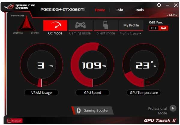 Asus ROG Poseidon GTX 1080 Ti Platinum Gaming GPU Tweak II Simple mode
