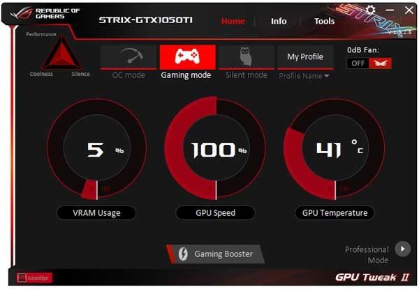 Asus Strix GTX 1050 Ti 4G Gaming GPU Tweak II Simple mode